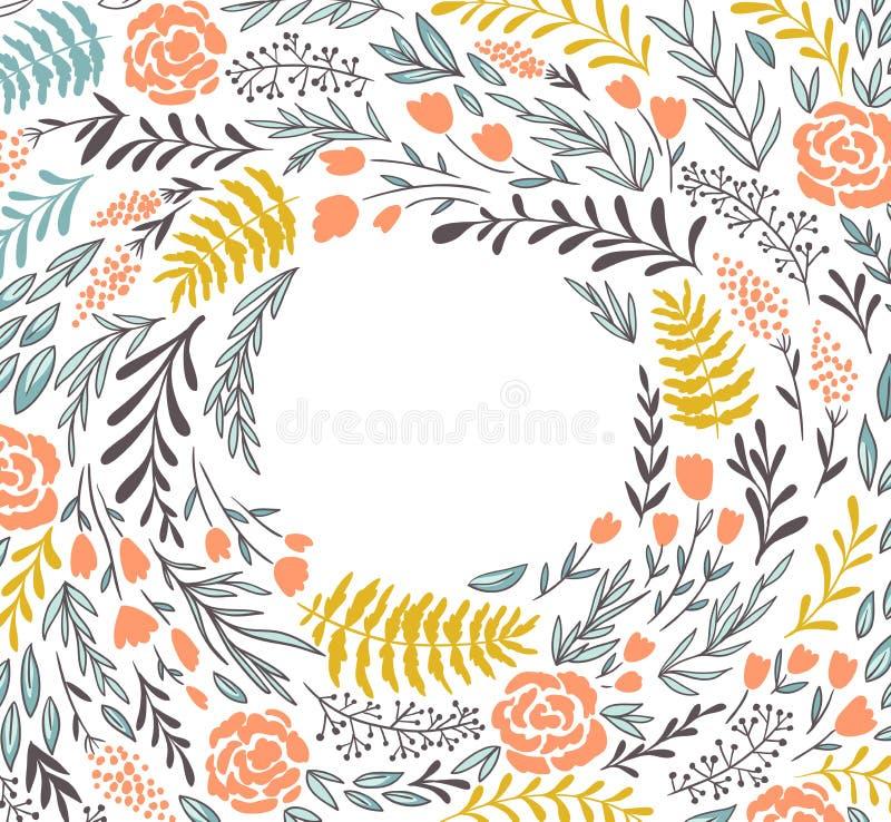 Blom- ram för vektor i klotterstil med blommor och sidor Stilla blom- bakgrund för sommar stock illustrationer
