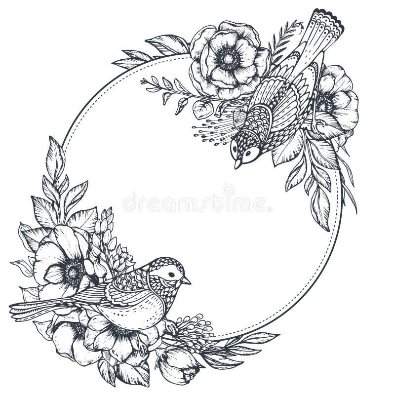 Blom- ram för vektor med buketter av hand drog anemonblommor och fåglar royaltyfri illustrationer