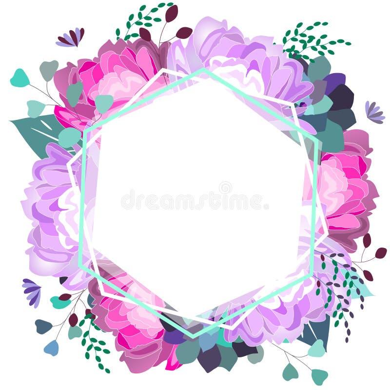 Blom- ram för vektor med den rosa och violetta pionen, suckulent, sidor Moderiktig sommardesign stock illustrationer