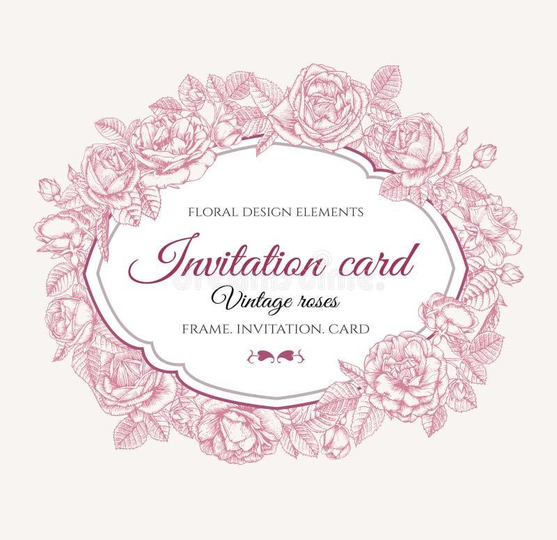 Blom- ram för vektor med rosor i tappningstil 1 kortinbjudan royaltyfri illustrationer