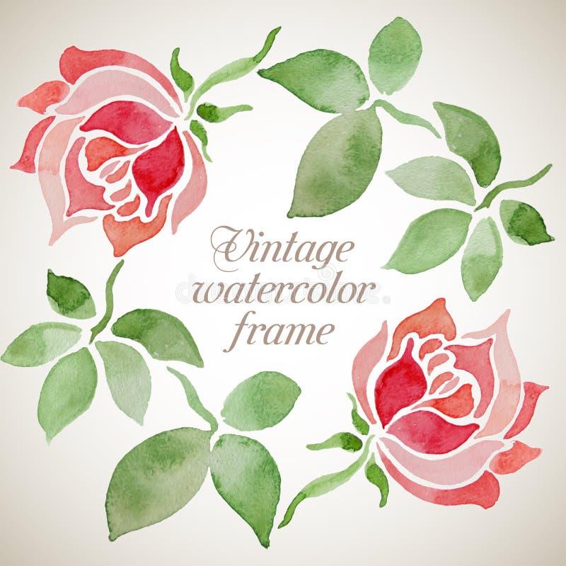 Blom- ram för vektortappningvattenfärg vektor illustrationer