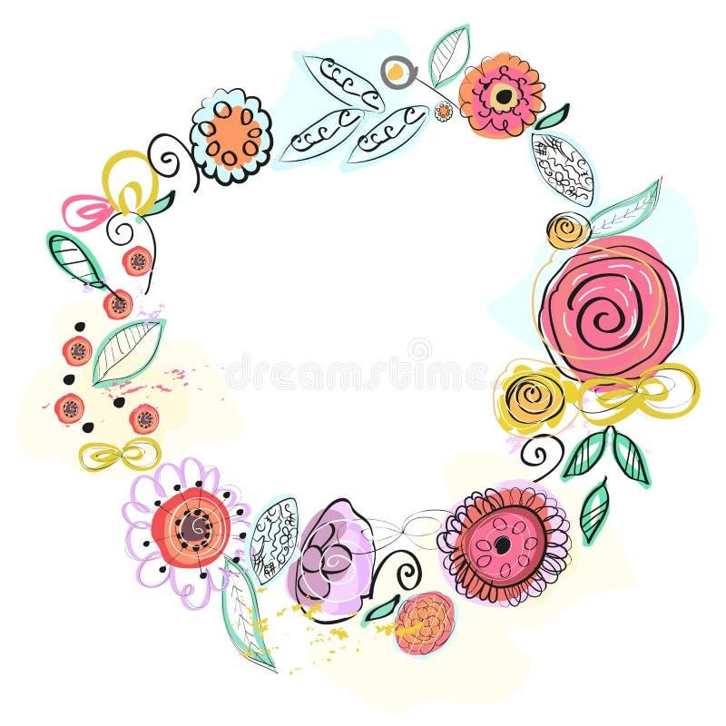 Blom- ram, krans för härlig design Färgrik naturlig illustration vektor illustrationer