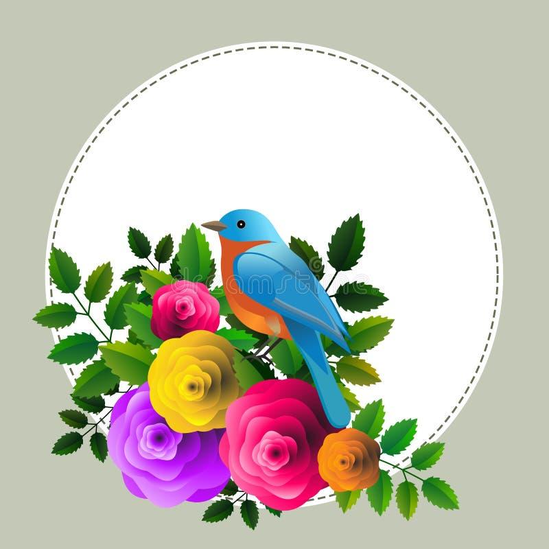 Blom- ram med den färgrika fågeln över buketten av stiliserade rosor stock illustrationer