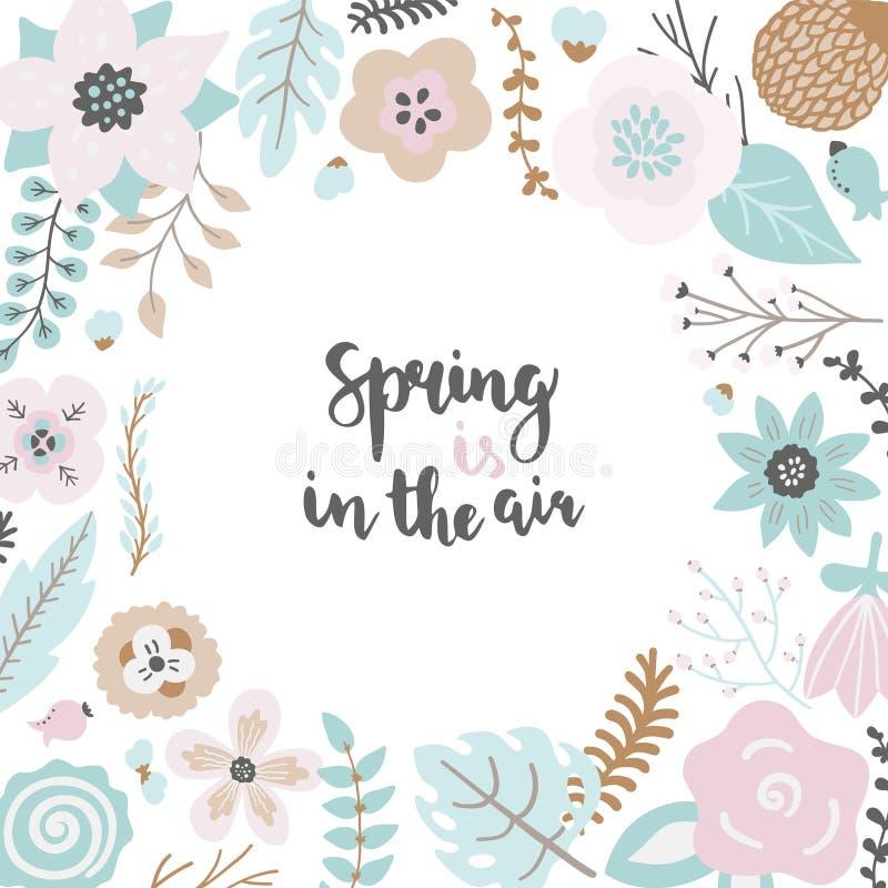 Blom- ram med färgrika sidor och blomman på den vita bakgrundsmallen stock illustrationer