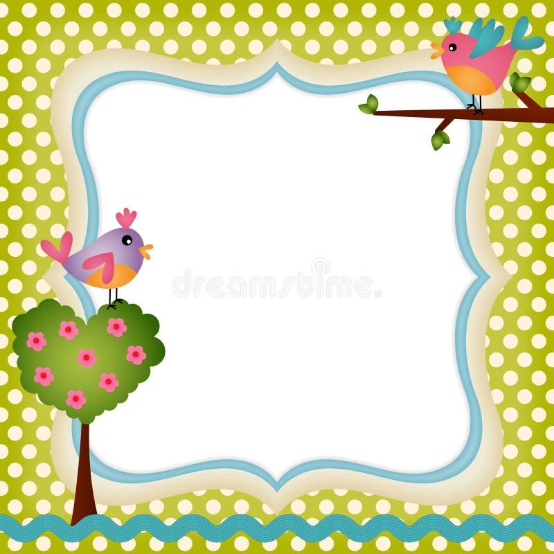 Blom- ram med fåglar stock illustrationer