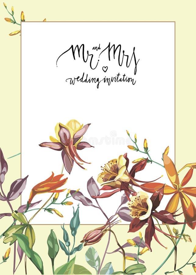 Blom- ram med röda blommor på ljus bakgrund Hälsningkort eller mall för att gifta sig dagdesign för ` s royaltyfri illustrationer