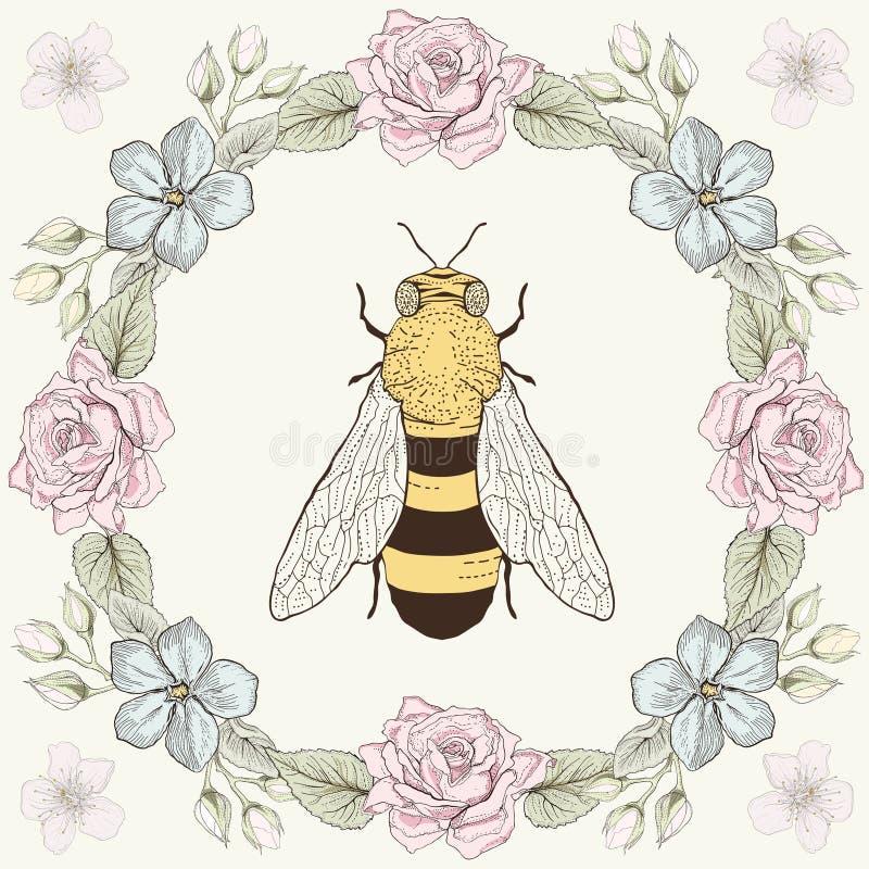 Blom- ram och bi i gravyrstil stock illustrationer