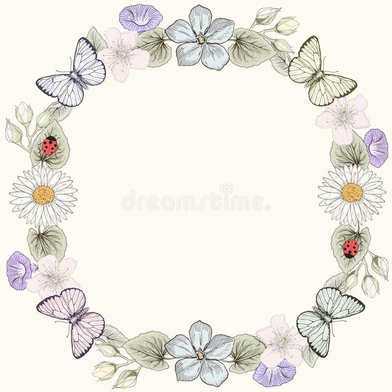 Blom- ram och fjärilar i gravyrstil royaltyfri illustrationer