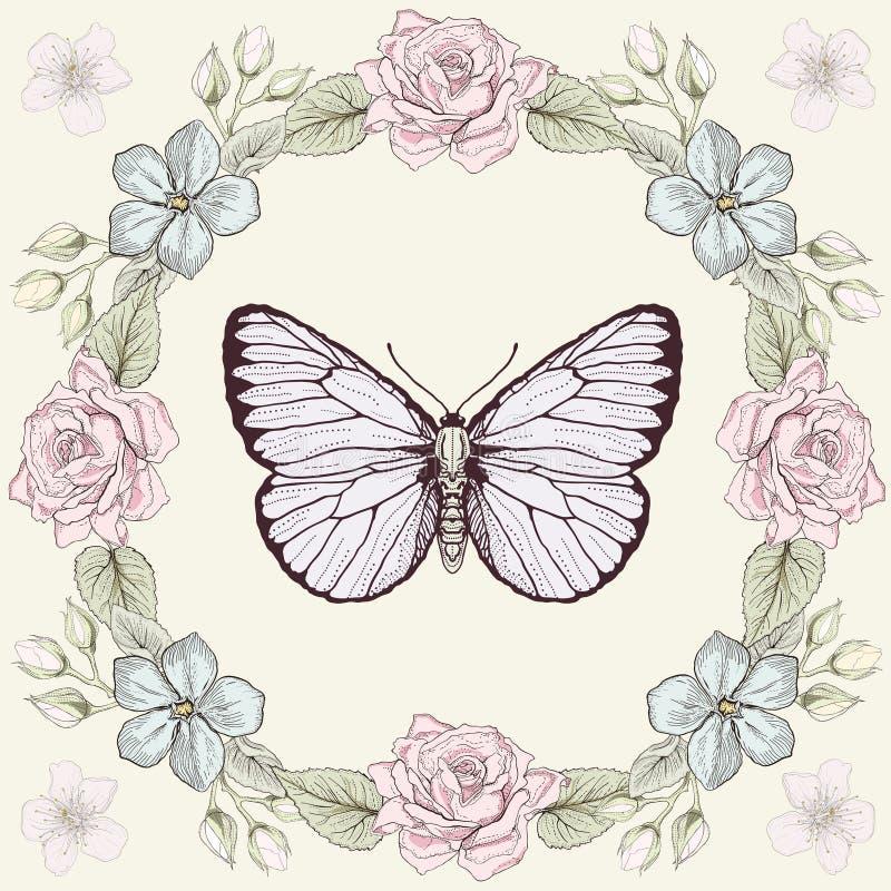 Blom- ram- och fjärilsgravyrstil stock illustrationer