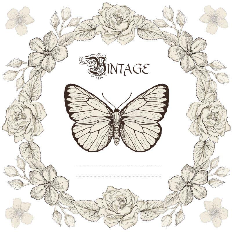 Blom- ram- och fjärilsgravyrstil royaltyfri illustrationer