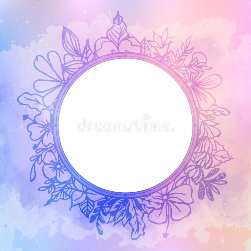 Blom- ram på färgrik vattenfärgabstrakt begreppbakgrund och vint stock illustrationer