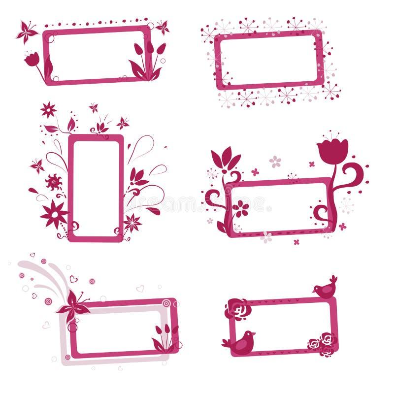 blom- ramar stock illustrationer