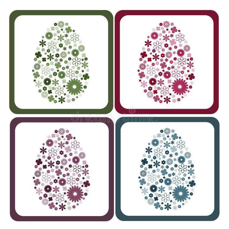 blom- ramar för easter ägg stock illustrationer