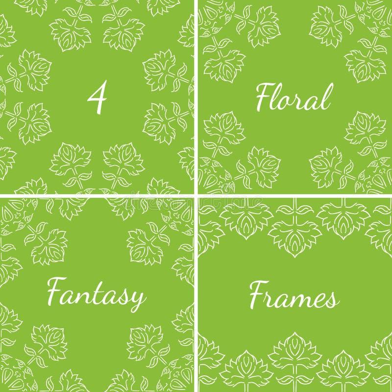 4 blom- ramar för fantasi med etnisk stil räcker utdragna bladbeståndsdelar, vit på grön bakgrund, vektorillustration vektor illustrationer