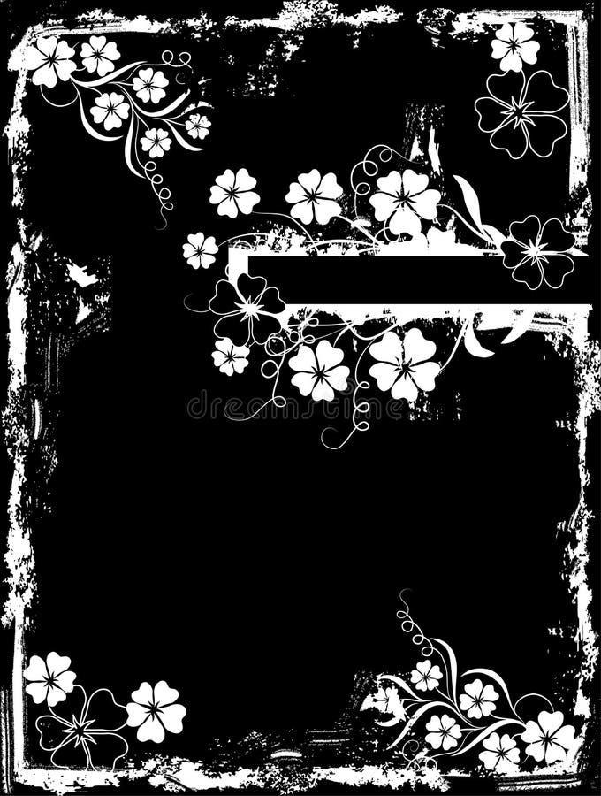 blom- ramgrunge stock illustrationer