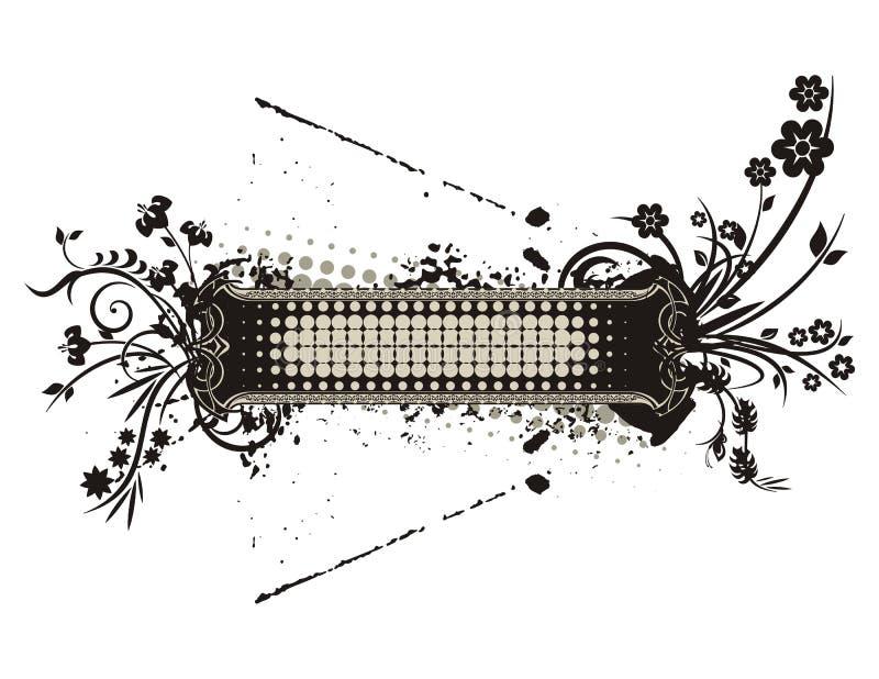 blom- ramgrungeserie stock illustrationer