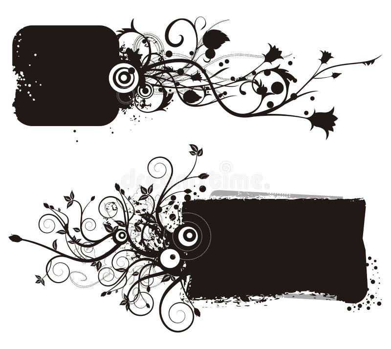 blom- ramgrungeserie royaltyfri illustrationer