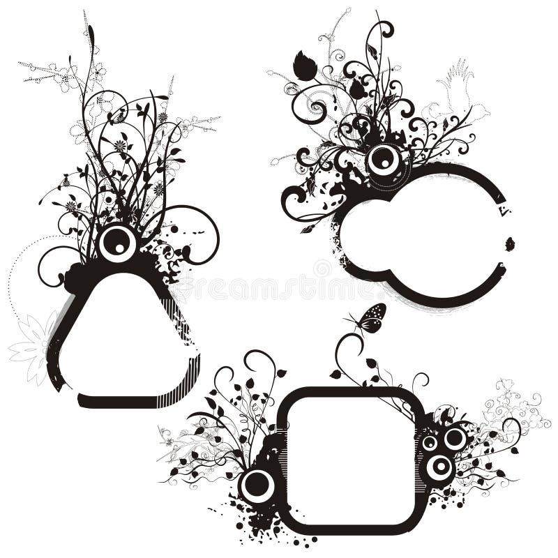 blom- ramgrungeserie vektor illustrationer
