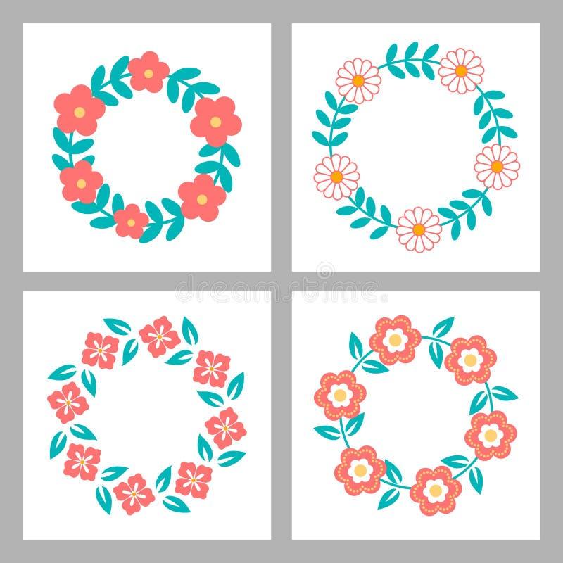 Blom- ramsamling Gulliga retro blommor royaltyfri illustrationer