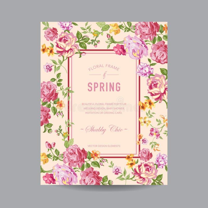 blom- ramtappning stock illustrationer