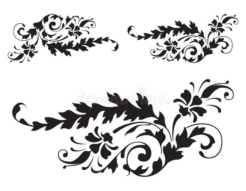 blom- renässansvektor för 3 detalj vektor illustrationer