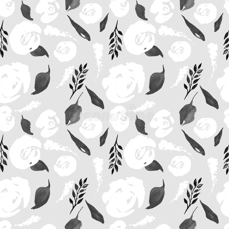 Blom- repetitionmodell för vattenfärg Kan användas som ett tryck för tyg, bakgrund för att gifta sig inbjudan vektor illustrationer