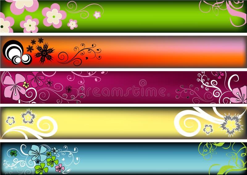 blom- retro för baner vektor illustrationer