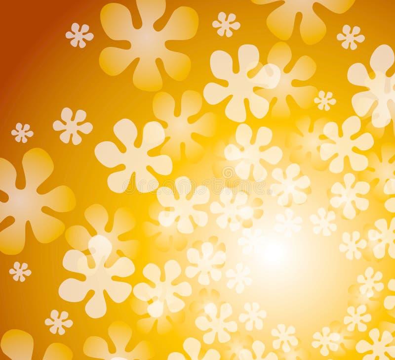 blom- retro guldkaleidoscope stock illustrationer