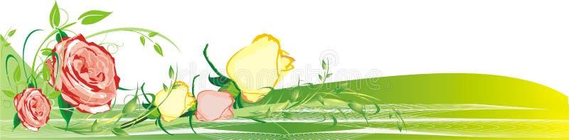 blom- ro för bukettdekor royaltyfri illustrationer