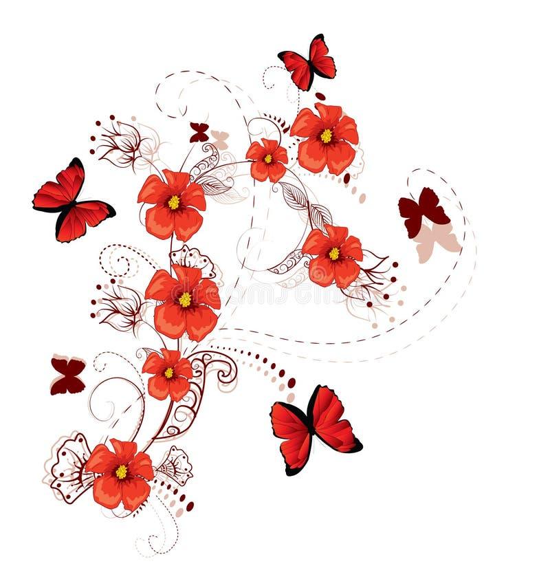 blom- romantiker för bakgrund royaltyfri illustrationer