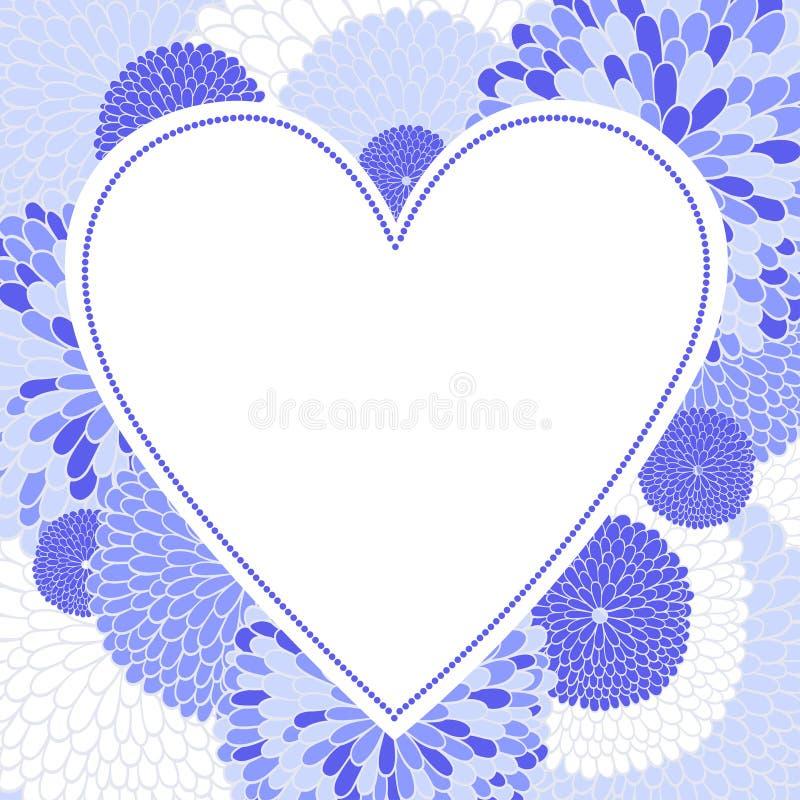 Blom- romantisk vektorbakgrund med hjärta stock illustrationer