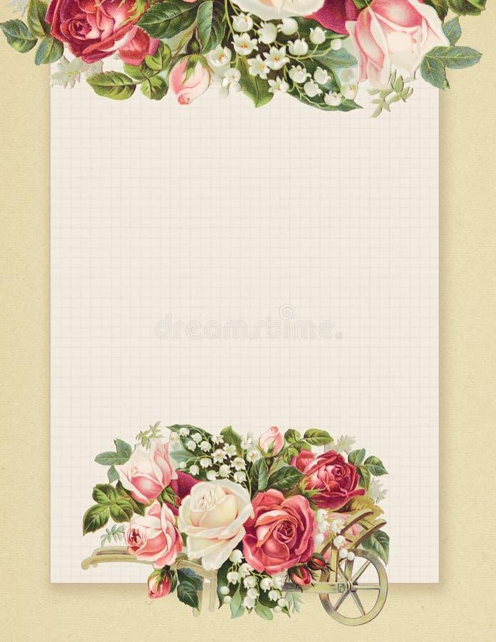 Blom- ros för tryckbar stil för tappning som sjaskig chic är stationär på dokument med olika förslagbakgrund royaltyfri illustrationer
