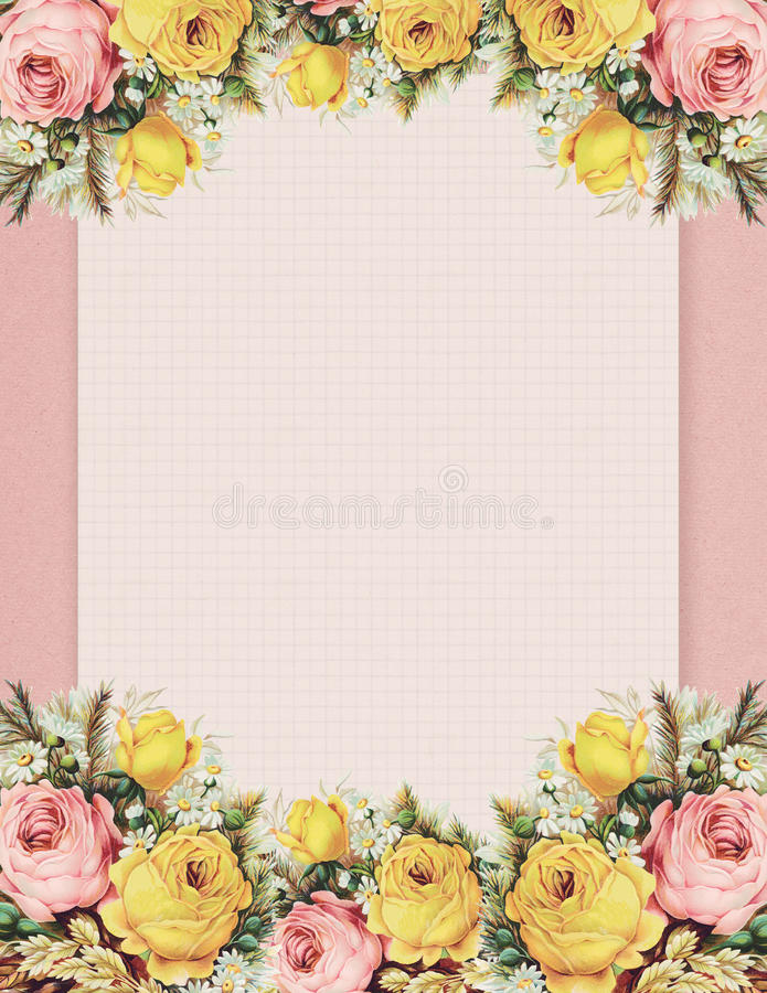 Blom- ros för tryckbar stil för tappning som sjaskig chic är stationär på dokument med olika förslagbakgrund stock illustrationer