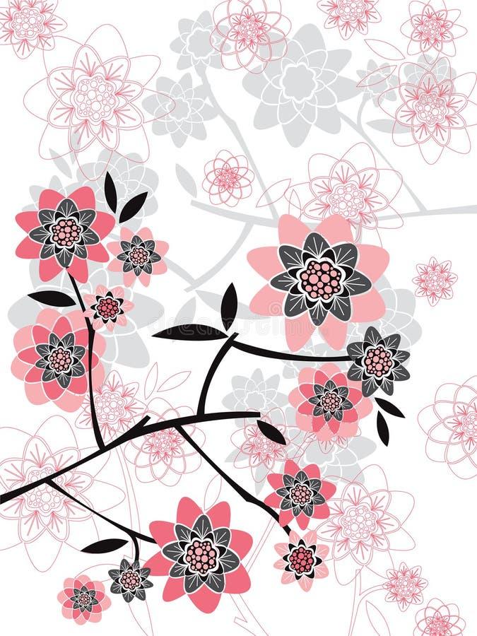 blom- rosa silhouettesfjäder vektor illustrationer