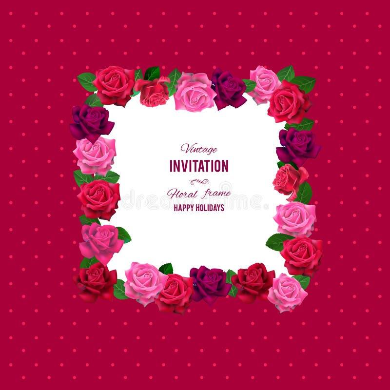 Blom- rosram stock illustrationer