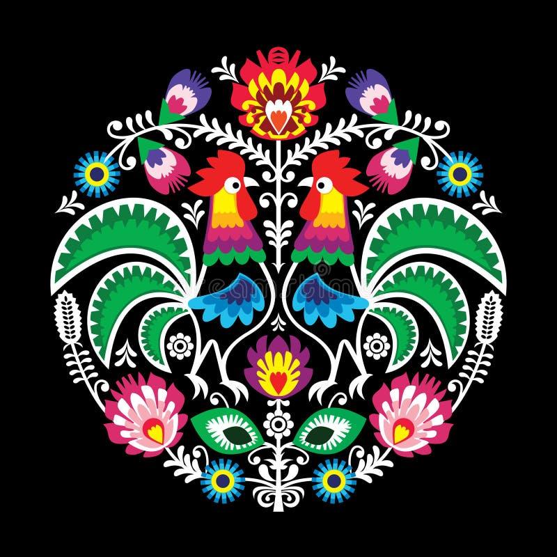 Blom- rund broderi för polsk vektorfolkkonst med tuppen royaltyfri illustrationer
