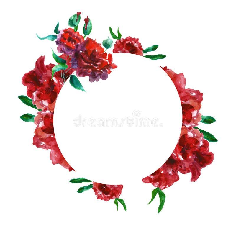 Blom- rund gräns för vattenfärg med hand målade blommor för röda rosor med utrymme för text Delikat färgrik botanisk illustration stock illustrationer