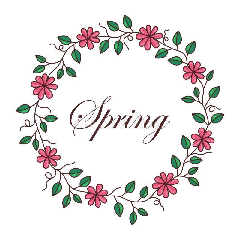 Blom- rund gränsvektor för rosa blommor vektor illustrationer