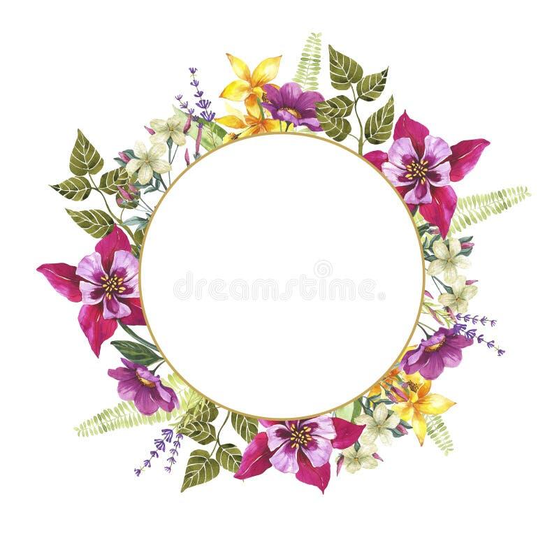 Blom- rund guld- ram för vattenfärg br?llop f?r romantiskt symbol f?r inbjudan f?r bakgrundseleganshj?rtor varmt vykort stock illustrationer