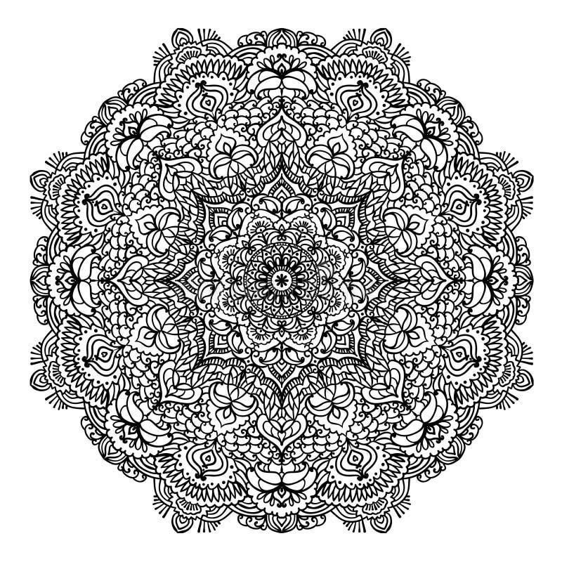 Blom- rund modellmandala för att färga sidaöversiktsillustrationen stock illustrationer
