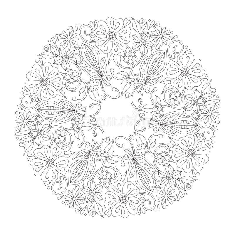 Blom- rund prydnad för klotter i svartvitt Sida för färgläggningbok: avslappnande jobb för barn och vuxna människor Zentangle vektor illustrationer