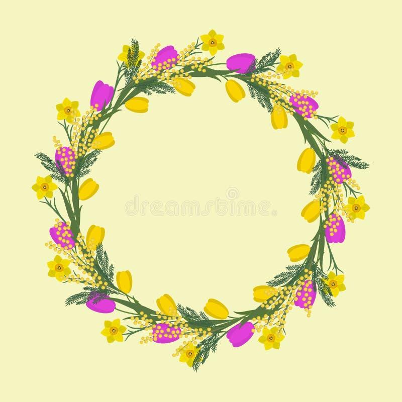 Blom- rund ram från vårblommor Guling och rosa blommor av tulpan, påskliljor och mimosan på en beige bakgrund vektor illustrationer