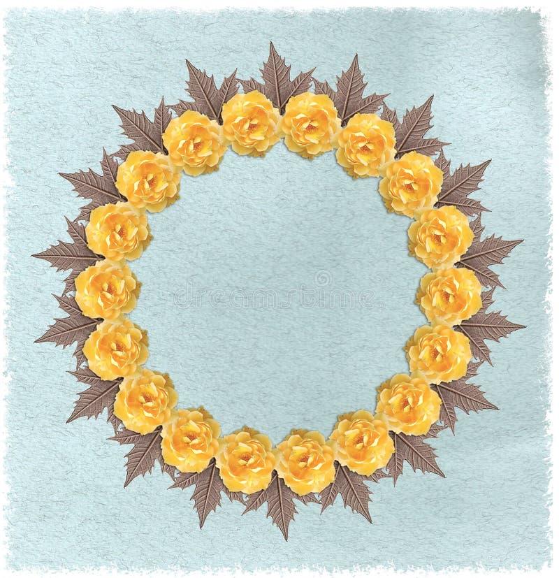 Blom- rund ram med pappers- bakgrund royaltyfri illustrationer