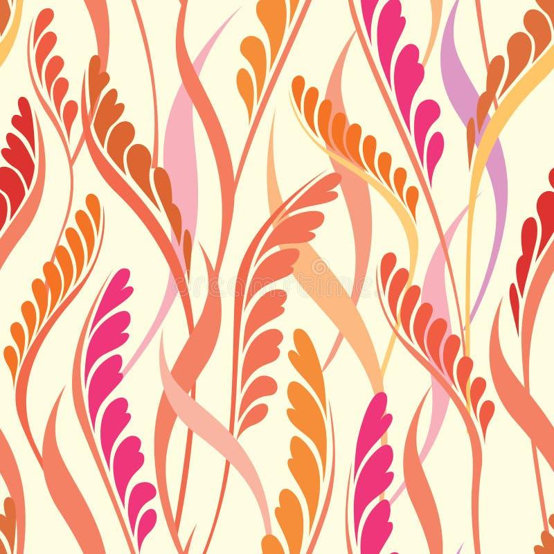 Blom- sömlös bakgrund. Abstrakt begrepp lämnar geometrisk sömlös textur stock illustrationer