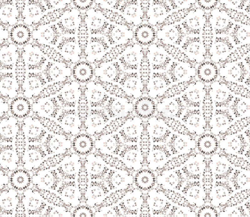 Blom- sömlös bakgrund. Abstrakt vit blom- geometrisk sömlös textur för beiga och stock illustrationer