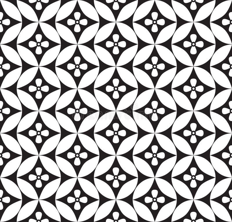 Blom- sömlös bakgrund. Abstrakt vit och svart blom- geometrisk sömlös textur vektor illustrationer