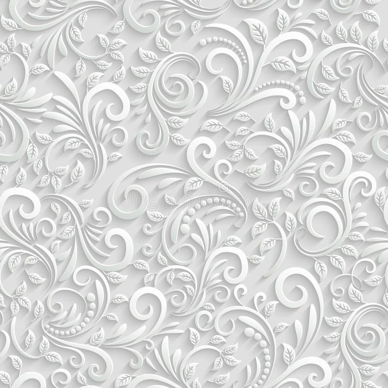 Blom- sömlös bakgrund 3d royaltyfri illustrationer