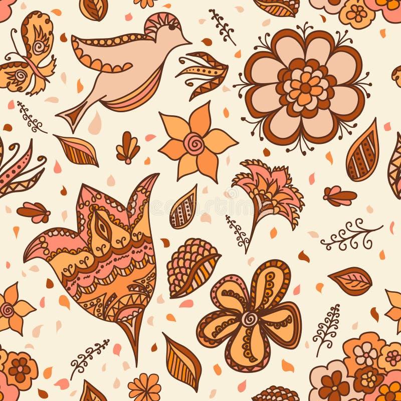 Blom- sömlös bakgrund för design royaltyfri illustrationer
