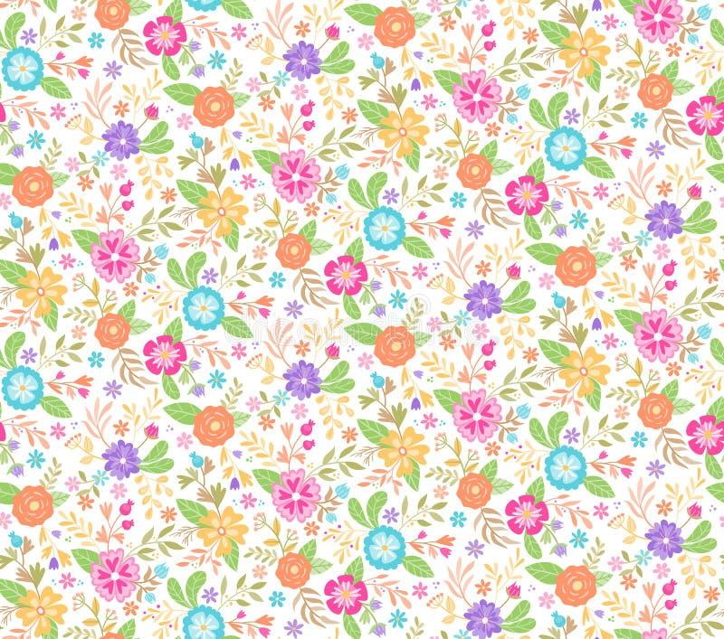 Blom- sömlös bakgrund för gullig vår också vektor för coreldrawillustration royaltyfri illustrationer