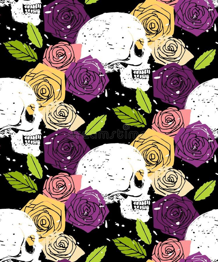 Blom- sömlös bakgrund för skalle stock illustrationer